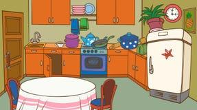 Кухня шаржа оживленная иллюстрация вектора