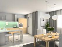 кухня 3d самомоднейшая представляет Стоковая Фотография RF