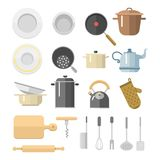 Кухня dishes иллюстрация мебели блюд бытовой техники вектора плоскими изолированная значками ежедневная Стоковое Фото