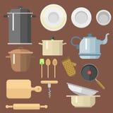 Кухня dishes иллюстрация мебели блюд бытовой техники вектора плоскими изолированная значками ежедневная Стоковые Изображения RF