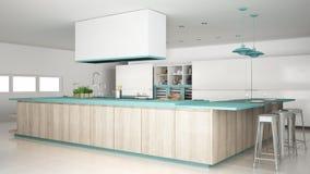 Кухня Minimalistic белая с деталями деревянных и бирюзы, mi Стоковое Изображение RF