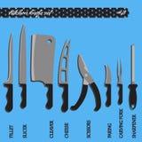 Кухонные ножи номер два вектора установленные Стоковое Изображение RF