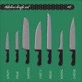 Кухонные ножи одно вектора установленные Стоковые Изображения RF