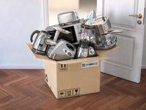 Кухонные приборы домочадца в открытой картонной коробке перед открыть дверью Доставка, электронная коммерция и онлайн ходя по маг иллюстрация штока