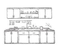 Кухонный шкаф кухни, кухня shelves, нарисованная рука Стоковое Изображение RF