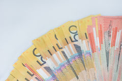 Куча австралийских банкнот денег Стоковое Изображение