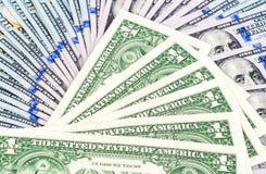 Куча 100 американских долларовых банкнот Стоковые Фото