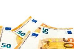 Куча 50 банкнот евро изолированных на белой пользе fo предпосылки Стоковое Изображение RF