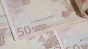 Куча 50 банкнот евро на таблице Стоковая Фотография RF