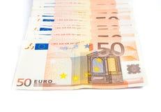 Куча банкнот евро стоковые изображения