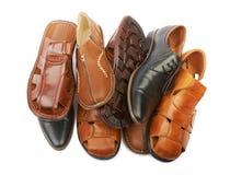 Куча ботинок различных людей кожаных Стоковое Изображение