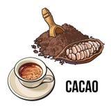 Куча бурого пороха, плодоовощ какао и чашки горячего шоколада иллюстрация вектора