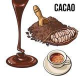 Куча бурого пороха, плодоовощ, чашки горячего шоколада и отбензинивания иллюстрация вектора
