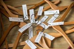 Куча вешалок с бирками дня Стоковая Фотография RF