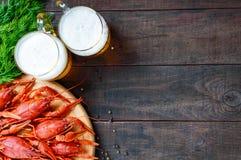 Куча вкусных кипеть раков на круглом деревянном подносе и 2 кружках холодного пива на темной предпосылке Стоковые Изображения