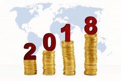 Куча 2018 вышеуказанная золотых монеток Стоковое фото RF