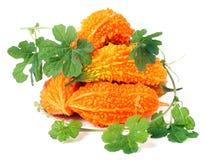Куча горьких дыни или momordica с листьями на белой предпосылке Стоковые Изображения RF