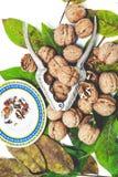 Куча грецких орехов лежа на листьях Около Щелкунчика и поддонника Стоковое Изображение