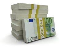 Куча евро (включенный путь клиппирования) Иллюстрация вектора
