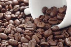 Куча зажаренных в духовке кофейных зерен и белой кофейной чашки лежа на стороне Стоковое фото RF