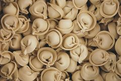 Куча замороженных равиоли или вареников, покупок супермаркета стоковое фото rf