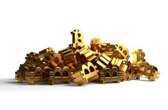 Куча значка символа перевода 3d Bitcoins золотого Стоковое Изображение RF