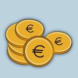 Куча золотого евро монеток Стоковые Фотографии RF