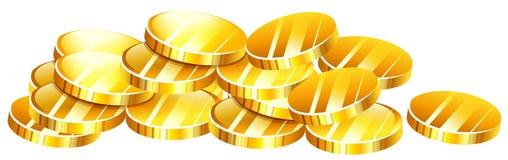Куча золотистых монеток Стоковое Фото