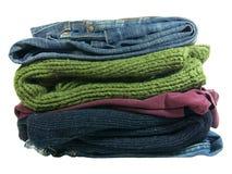 Куча изолированных одежд Стоковое Изображение RF