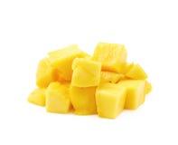 Куча изолированных кубов плодоовощ манго Стоковое Фото