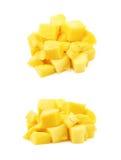 Куча изолированных кубов плодоовощ манго Стоковая Фотография RF