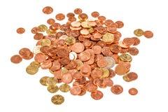 Куча изолированных центов евро Стоковое Изображение RF