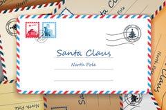 Куча иллюстрации вектора столба письма адреса почтовой отправки рождества Санта Клауса Стоковое Изображение