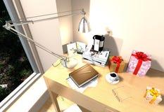 Куча книг и настольной лампы на деревянной таблице Стоковое фото RF