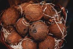Куча кокосов как предпосылка Органические кокосы на рынке внутри Стоковые Изображения RF