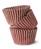 Куча коричневых бумажных стаканчиков для печь булочек Стоковые Фотографии RF