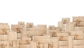 Куча коробки столба пакета, изолированная на белой предпосылке Стоковое Изображение
