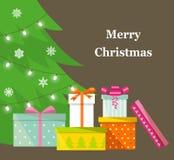 Куча красочных обернутых подарочных коробок Серии настоящих моментов Подарки перед рождественской елкой иллюстрация вектора