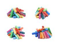 Куча красочных пастельных изолированных мел crayon Стоковая Фотография RF