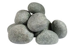 Куча круглых камней изолированных на белой предпосылке Стоковое Изображение
