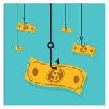 Куча наличных денег доллара значка крюка вектора дела Стоковые Изображения RF