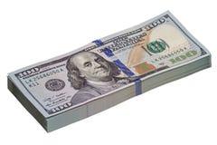 Куча новых 100 долларовых банкнот Стоковая Фотография
