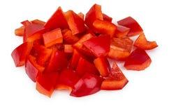 Куча отрезка на малых кусках болгарского красного перца Стоковые Фотографии RF