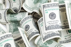 Куча доллара Соединенных Штатов 100 USD банкнот Стоковое фото RF