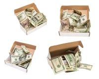 Куча 100 долларовых банкнот в большой присутствующей коробке изолировано Стоковое Изображение RF