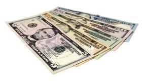 Куча долларовых банкнот изолированных на белой предпосылке Стоковая Фотография RF
