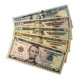 Куча долларовых банкнот изолированных на белой предпосылке Стоковая Фотография