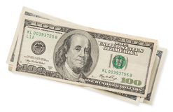 Куча 100 долларовых банкнот изолированных на белой предпосылке Стоковая Фотография RF