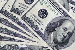 Куча 100 долларов дизайна как предпосылка Стоковые Фото
