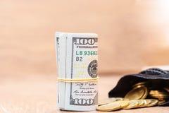 Куча долларов свернутых вверх Стоковая Фотография RF